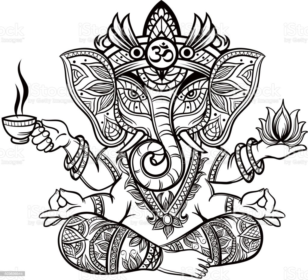 Hindu Elephant God With Lotus And Tea Stock Vector Art
