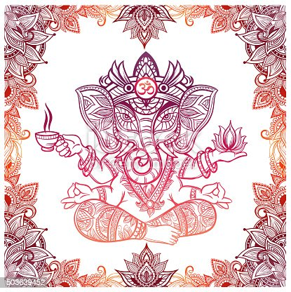 istock Hindu Elephant God with lotus and tea 503639452