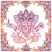 Hindu Elephant God with lotus and tea