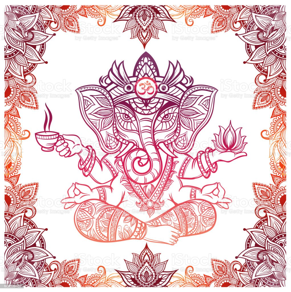 Hindu Elephant God with lotus and tea vector art illustration
