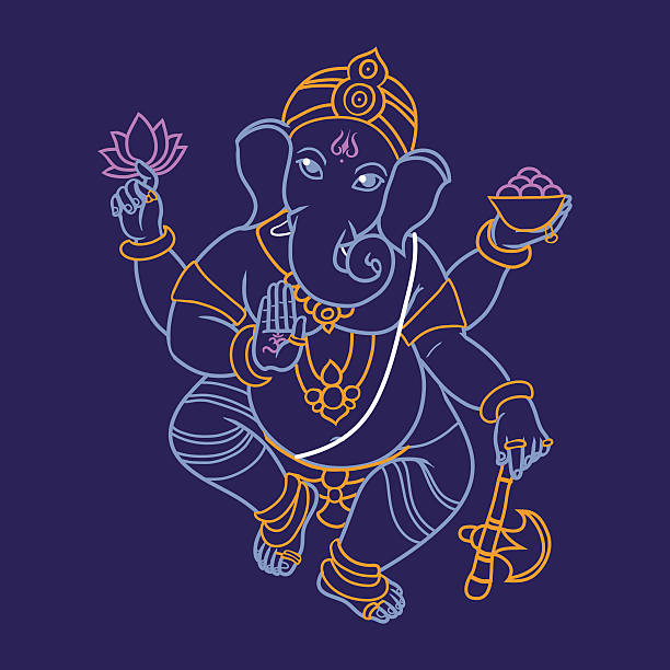 hindu elephant head ganescha. - ganesh stock-grafiken, -clipart, -cartoons und -symbole