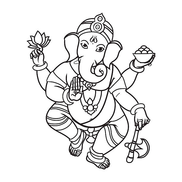 elephant kopf hindu-gott ganescha. - ganesh stock-grafiken, -clipart, -cartoons und -symbole