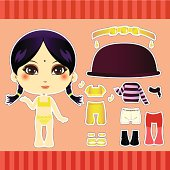 Sweet and cute hindu fashion paper doll girl clothes collection set