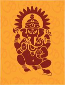 Hindu god Ganesh or Ganesha in traditional red with a saffron backdrop of the sacred and mystical om.  Complete with the traditional companion of Ganesh, the rat/mouse.