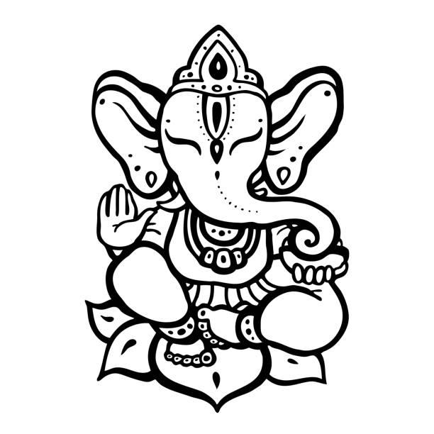 hindu god ganesha - buddha stock illustrations, clip art, cartoons, & icons