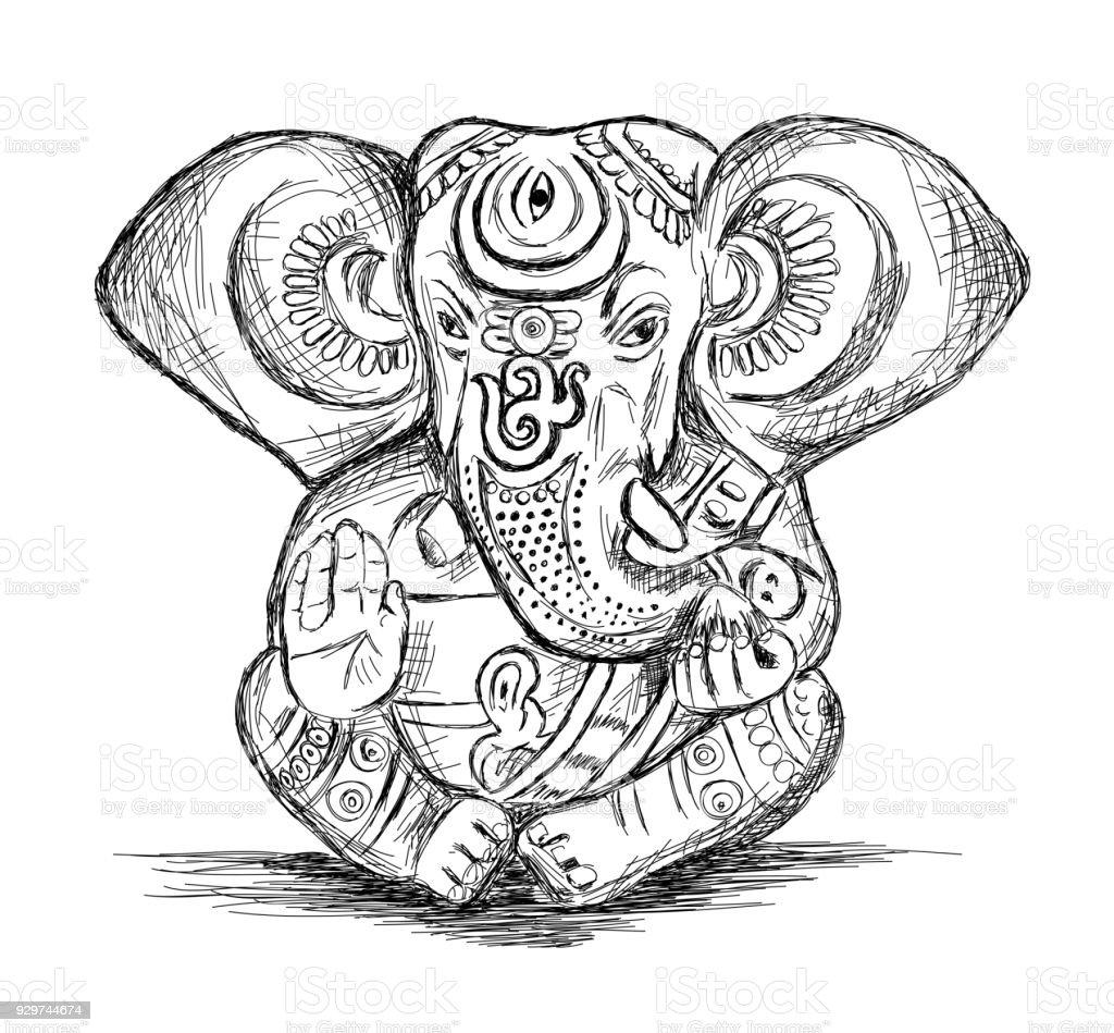Hindu god ganesha vector sketch illustration stock