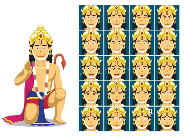 Hindu God Hanuman Cartoon Emotion faces Vector Illustration Cartoon Emoticons EPS10 File Format hanuman stock illustrations