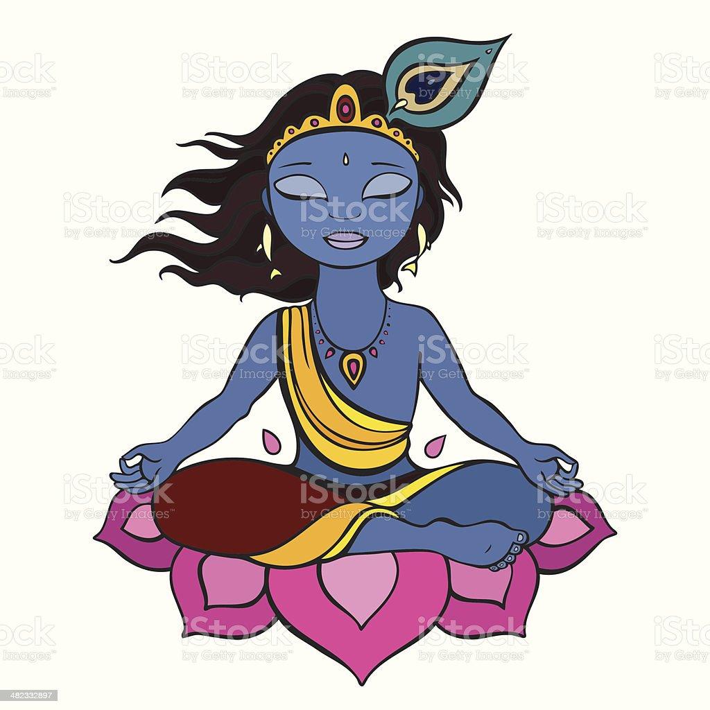 Hindu God Krishna. royalty-free stock vector art
