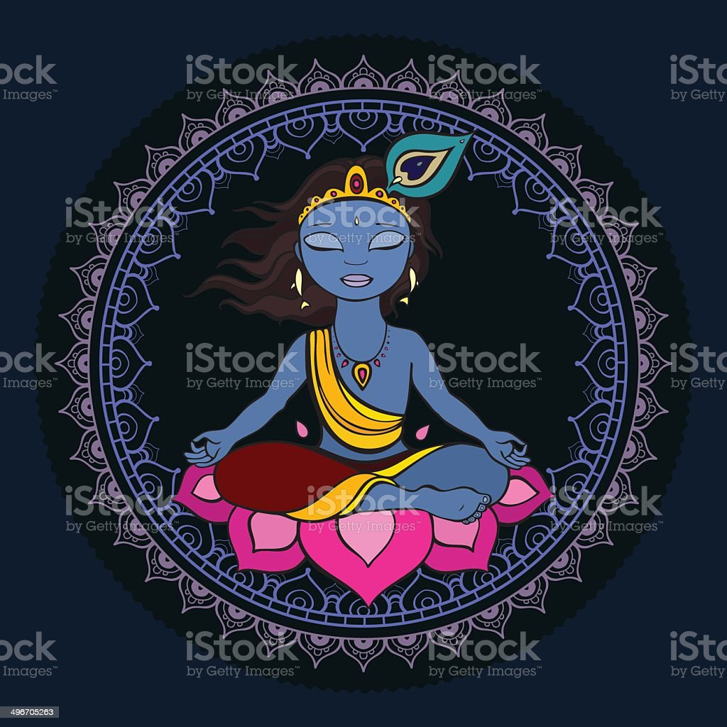 Hindu God Krishna. vector art illustration