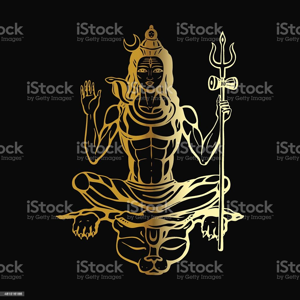 Hindu god Shiva vector art illustration