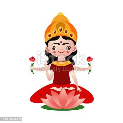 Hand drawn indian hindu god sitting in lotus pose holding flowers in many hands isolated over white background vector illustration. Hinduism religion illustrations concept