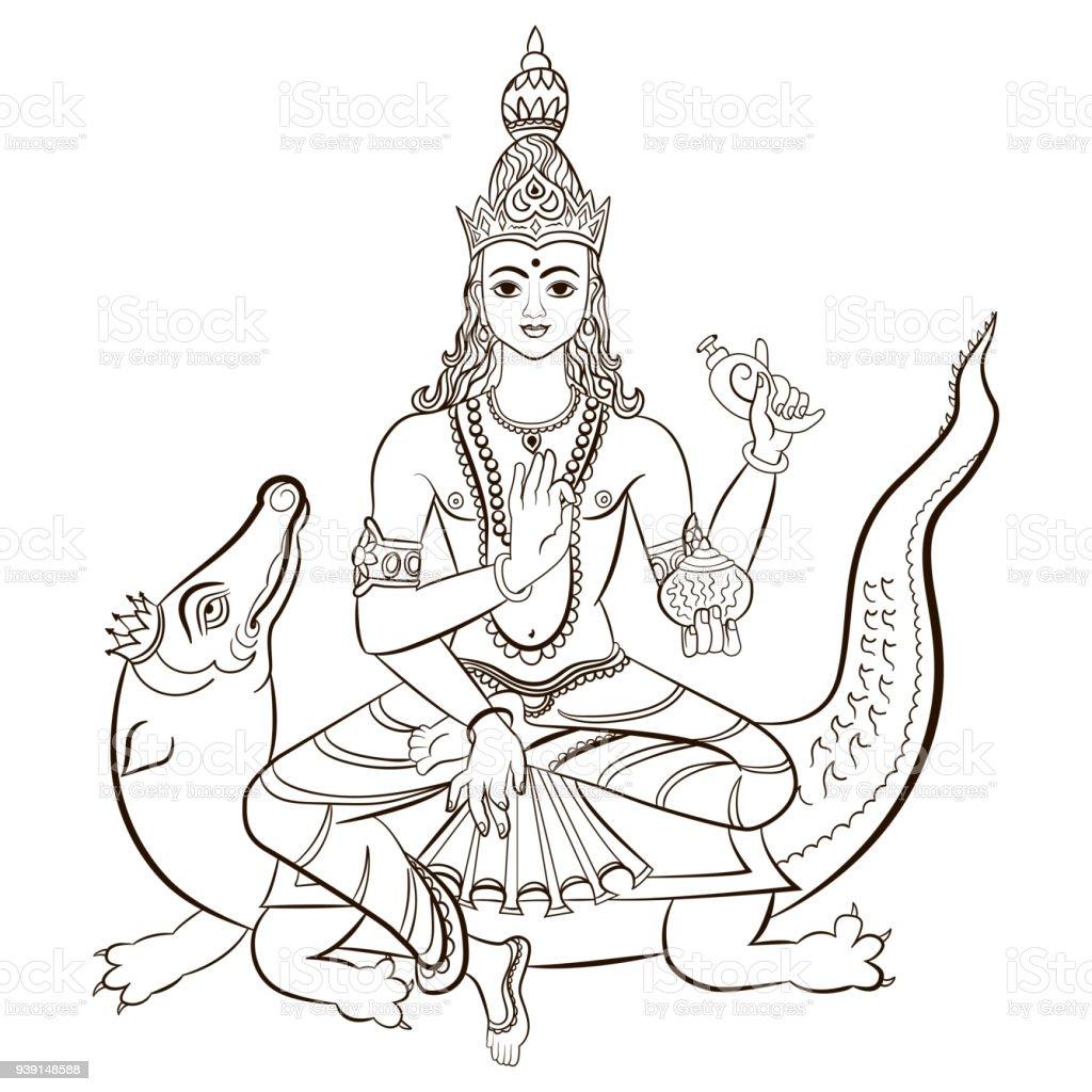 Hindu Deus Varuna sentado sobre o crocodilo. Ilustração em vetor. - Vetor de Animal royalty-free