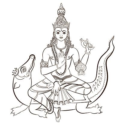 Vetores de Hindu Deus Varuna Sentado Sobre O Crocodilo Ilustração Em Vetor e mais imagens de Animal