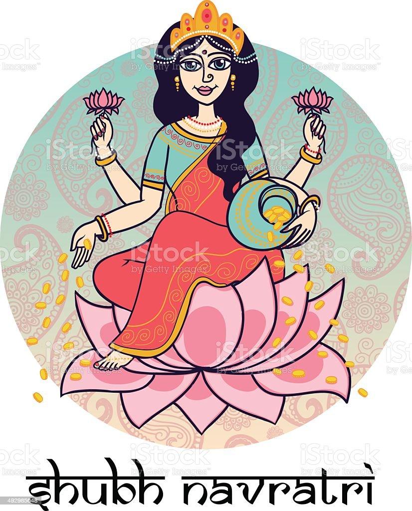 Hindu goddess Lakshmi. vector art illustration