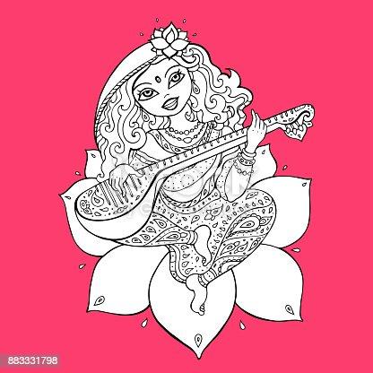Diosa Hindú Saraswati - Arte vectorial de stock y más imágenes de ...