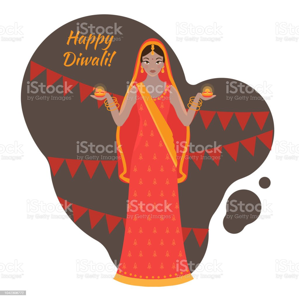 Hindu holiday greeting card light festival of india happy diwali hindu holiday greeting card light festival of india happy diwali woman wearing traditional cloth m4hsunfo