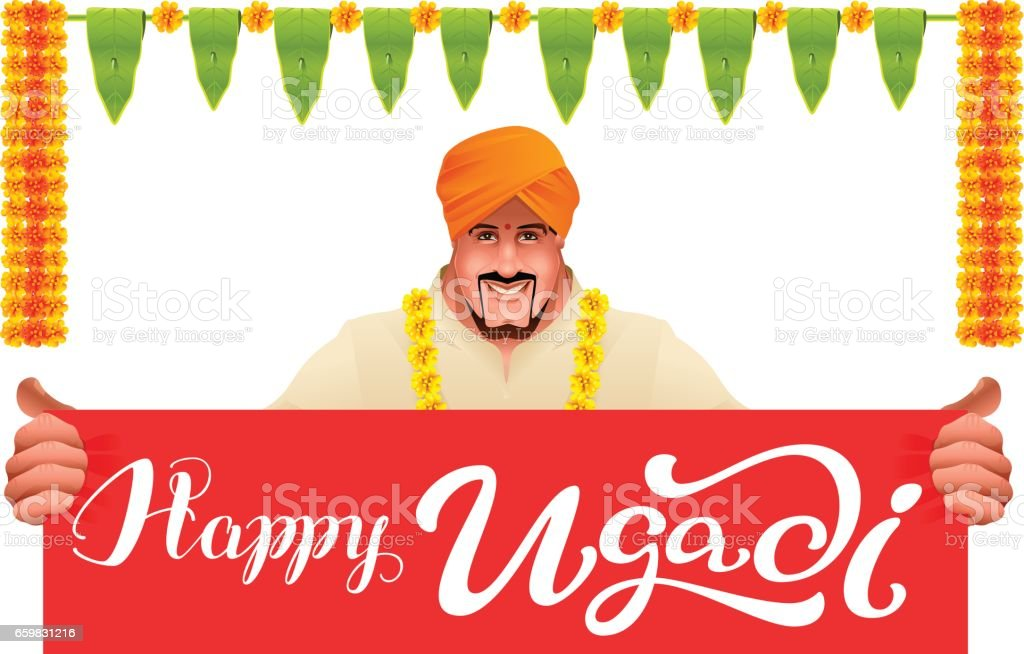 Hindu Man Holds Banner Happy Ugadi Stock Illustration - Download