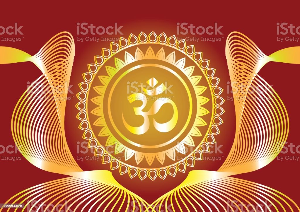 Hindu Mantra Writing Shree And Aum Or Om Vector Design Stock