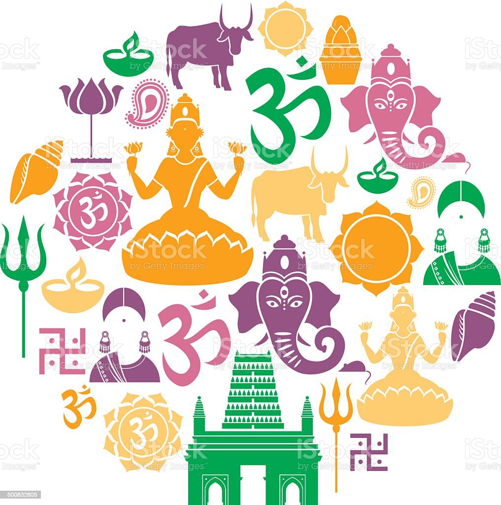 Hinduism Icon Set vector art illustration