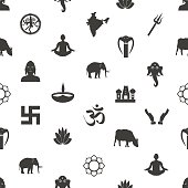 hinduism religions symbols gray seamless pattern eps10