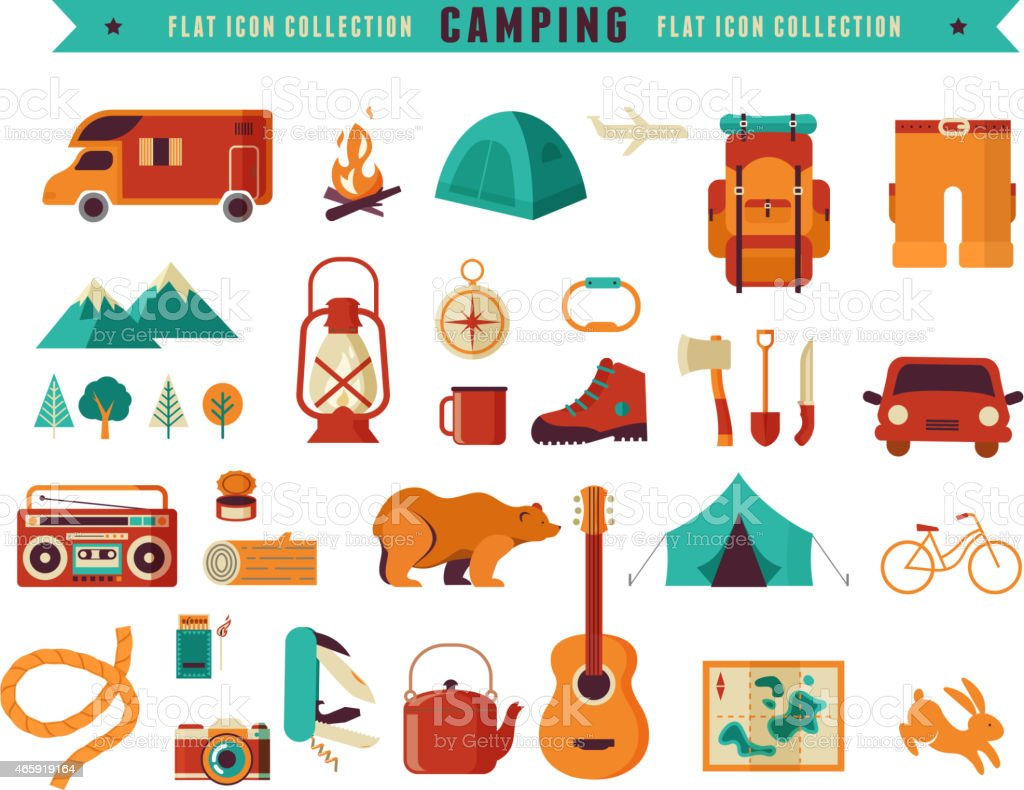 Hinking and camping equipment  - icon set and infographics vector art illustration