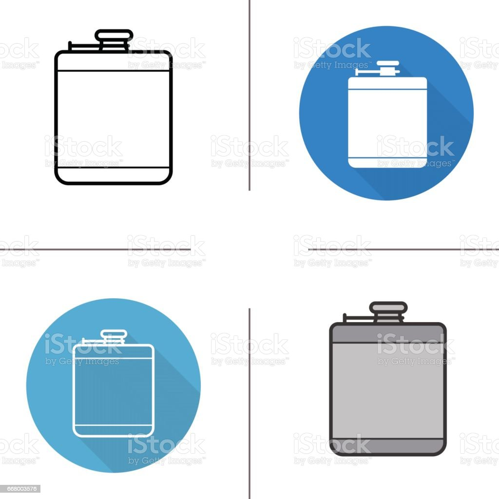 Hip flask icons vector art illustration