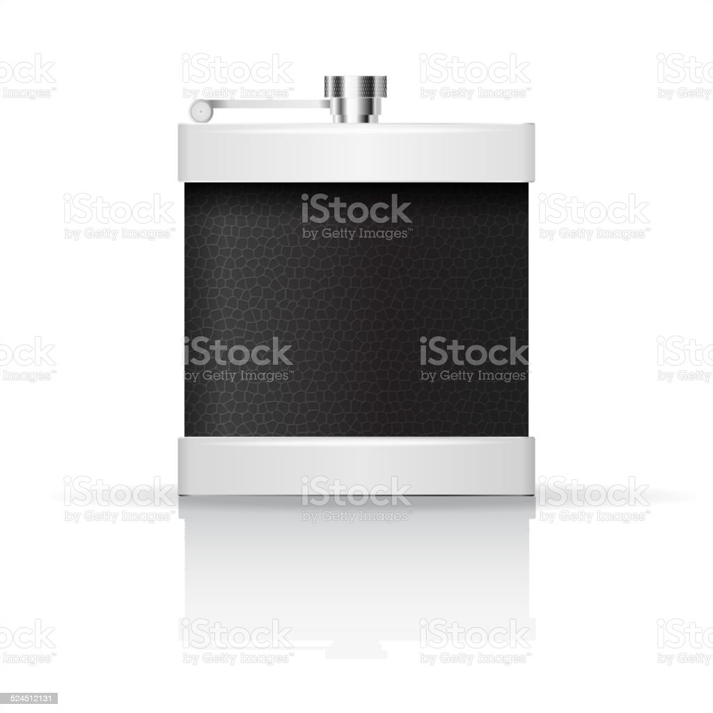 Hip flask wrapped in leather vector art illustration