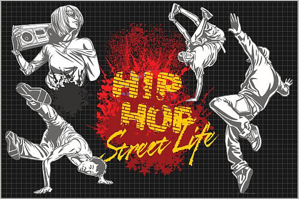 bildbanksillustrationer, clip art samt tecknat material och ikoner med hip hop and break dancers on dark background - street dance