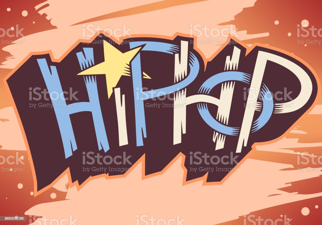 Hip Hop Graffiti encargo artístico estilo etiqueta diseño de rotulación.  ilustración de hip hop graffiti 4950aa399f0