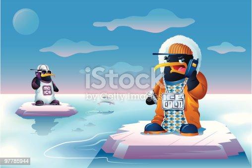 istock Hip Hop Bling Penguins Talking on Cellphones 97785944