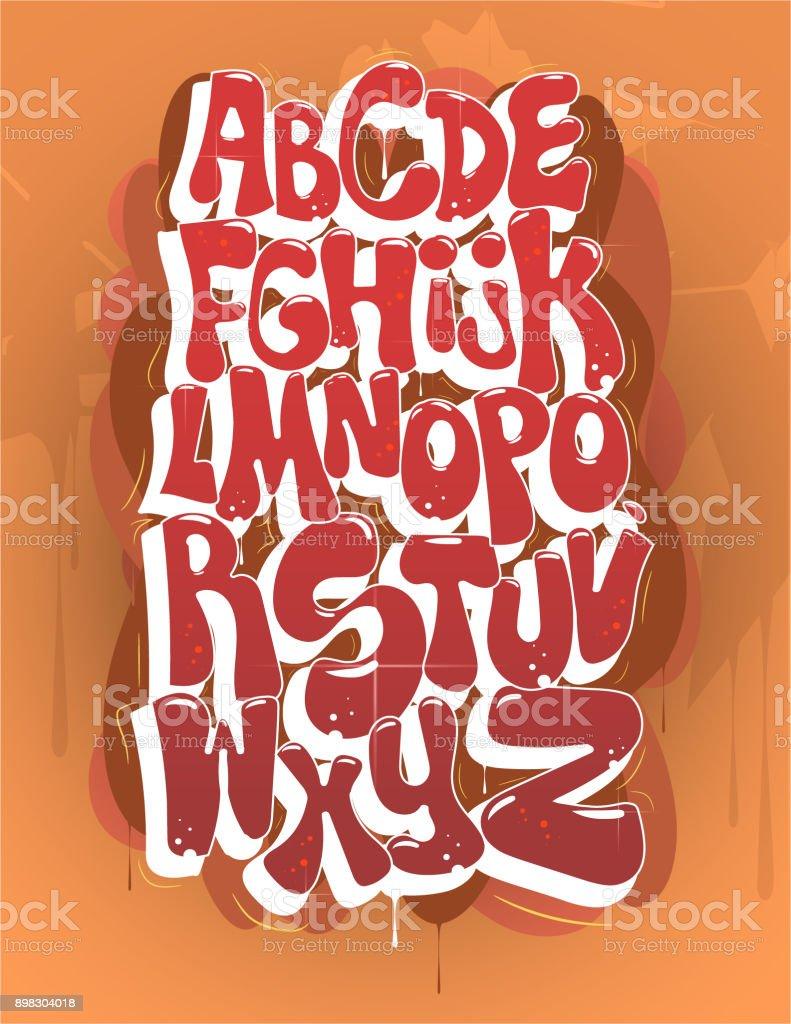 Hip Hop Bubble Graffiti Font Vector vector art illustration