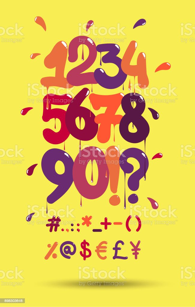 Hip Hop Bubble Graffiti Numbers And Symbols Royalty Free