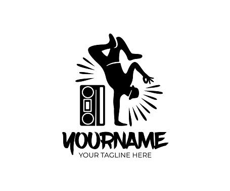 Hip hop dancer and cassette player or retro tape player, design. Street dances, music and art, vector design and illustration