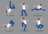 Set of six male hip hop dancers in funky dance moves. Vector icons isolated on grey background.