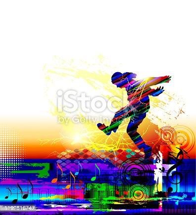 Hip hop dancer. Teenager jumping dancing