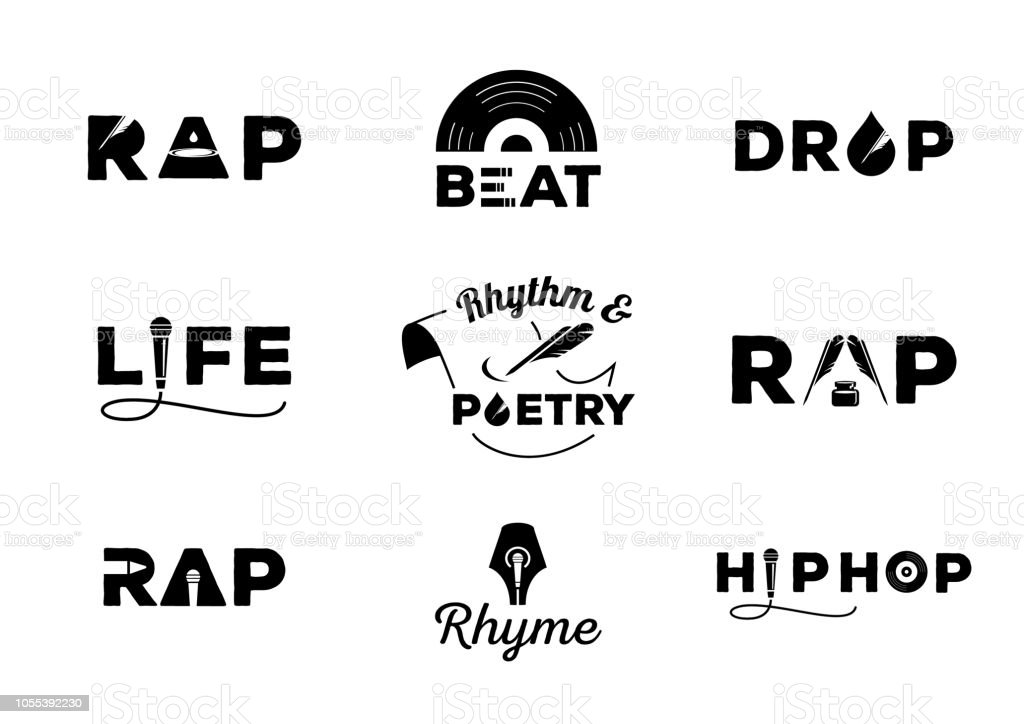 hip hop element with word design hip hop element with word design about rap,rhyme,rhythm,life,poetry,beat,drop vector illustration Art stock vector