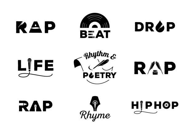 hip hop element with word design hip hop element with word design about rap,rhyme,rhythm,life,poetry,beat,drop vector illustration lyric stock illustrations