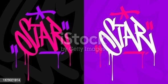 istock Hip Hop Hand Written Urban Graffiti Style Word Star Vector Illustration Calligraphy Art 1323021914