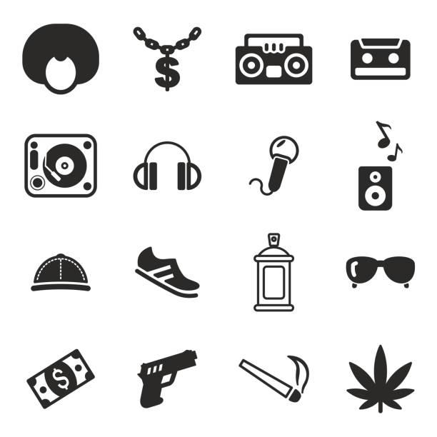ilustrações, clipart, desenhos animados e ícones de hip hop ícones - ícones de festas e estações