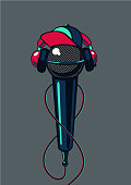 Hip hop microphone with cap on isolated background. Rap music poster mc battle.