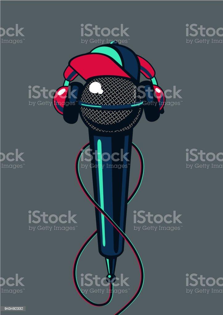 Micrófono de hip-hop con tapa sobre fondo aislado. Batalla de mc de cartel de música de rap. - ilustración de arte vectorial