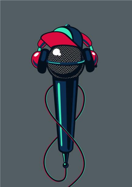 hip hop-mikrofon mit kappe auf isolierte hintergrund. rap-musik poster mc schlacht. - swag stock-grafiken, -clipart, -cartoons und -symbole