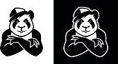 Hip hop young panda in cap.