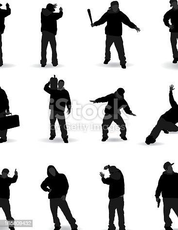 Hip Hop rap gang silhouette