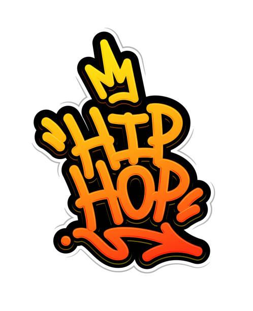 illustrations, cliparts, dessins animés et icônes de hip hop style de graffiti tag label lettrage. illustration vectorielle - hip hop