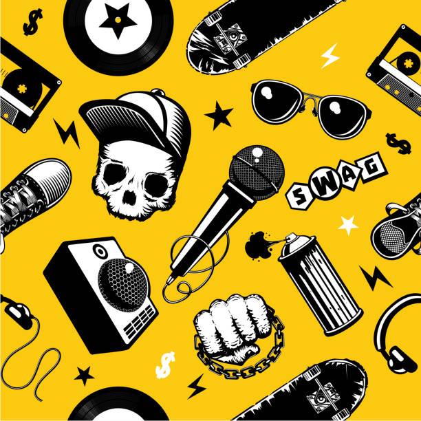 illustrazioni stock, clip art, cartoni animati e icone di tendenza di hip-hop culture background. - skate