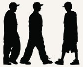 Kids in oversized clothes, baseball cap and sneakers. Silhouette.