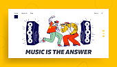 Hip-Hop Festival Performance Landing Page Template. Male Characters Singing Rap Music on Stage with Microphones. Audio Track Recording on Studio, Artists Rappers. Linear People Vector Illustration