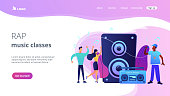 Hip hop singer with microphone at music speaker and tiny people dancing at concert. Hip hop music, hip hop party, RAP music classes concept. Website homepage landing web page template.