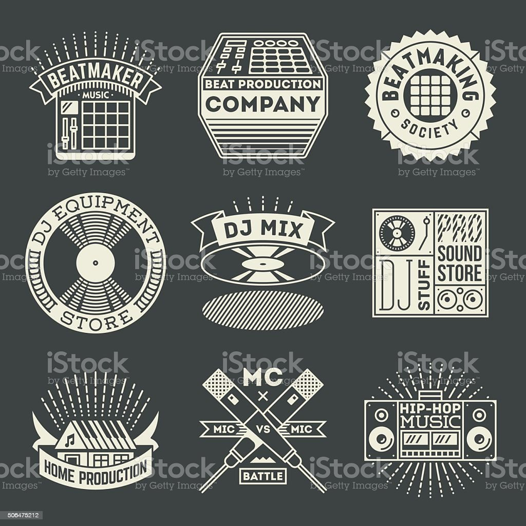 Hip-Hop Music Insignias Logotypes Template Set. vector art illustration